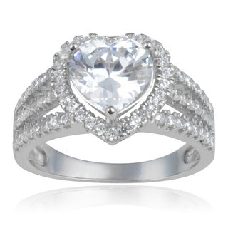 Journee Collection Sterling Silver Heart-cut Cubic Zirconia Halo Wedding Ring (5 options available)