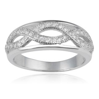 Journee Collection Sterling Silver Cubic Zirconia Wave Design Ring