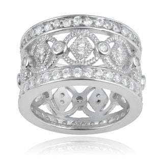 Journee Collection Sterling Silver Cubic Zirconia 13mm Wide Band