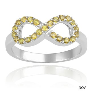 Journee Collection Sterling Silver Cubic Zirconia Birthstone Infinity Ring