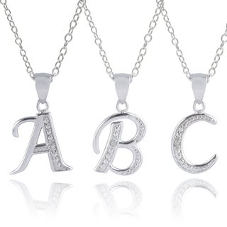 Journee Collection Sterling Silver Diamond Accent Letter Pendants