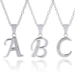 Journee Collection Sterling Silver Diamond Accent Letter Pendants|https://ak1.ostkcdn.com/images/products/10085151/P17228106.jpg?impolicy=medium