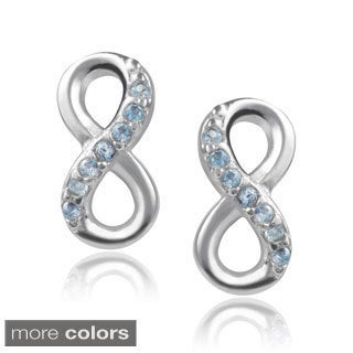 Journee Collection Sterling Silver Cubic Zirconia Infinity Stud Earrings
