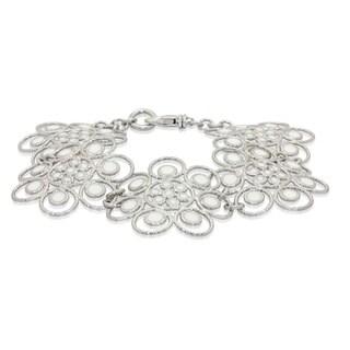 Gioelli Sterling Silver White Enamel Flower Bracelet