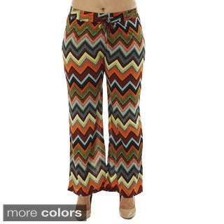 Women's Zig Zag Print Drawstring Waist Palazzo Pants (3 options available)