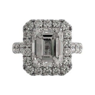 Azaro 18k White Gold 6 3/4ct TDW Emerald-cut Diamond Halo Engagement Ring (J, VS)