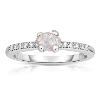 Eloquence 14k White Gold 4/5ct TDW Natural Champagne Rough Diamond Ring (SI1-SI2)