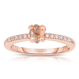 Eloquence 14k Rose Gold, 4/5ct TDW Natural Champagne Rough Diamond Fashion Ring (Brown)