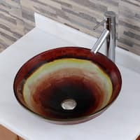 Rainbow Tempered Glass Bathroom Vessel Sink With Faucet Combo
