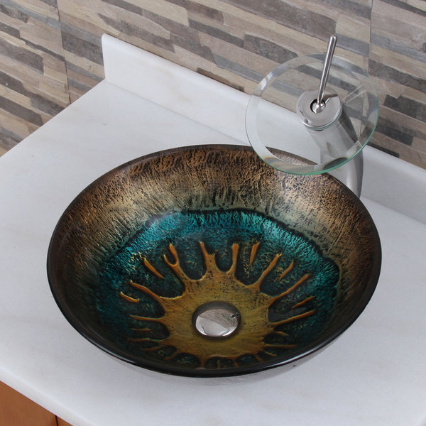 Shop Volcanic Pattern Tempered Glass Bathroom Vessel Sink And
