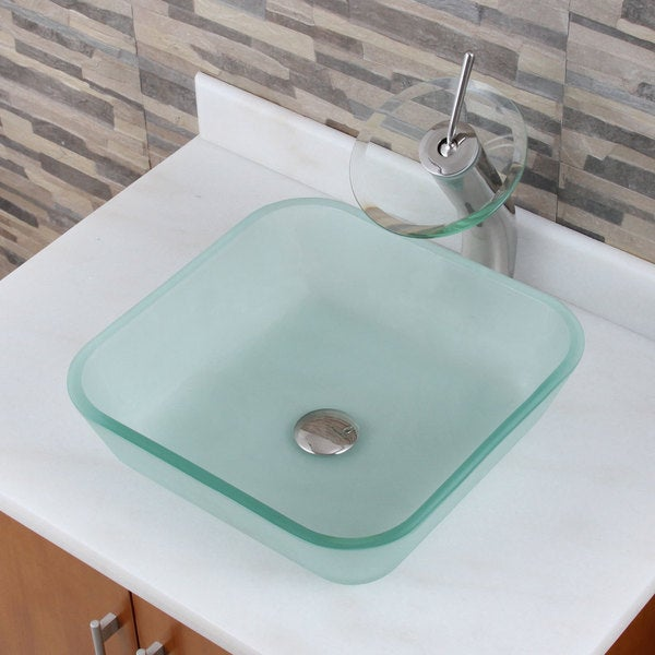 Frosted Square Tempered Glass Bathroom Vessel Sink And Waterfall