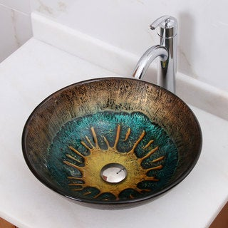 Volcanic Pattern Tempered Glass Bathroom Vessel Sink With Faucet Combo