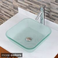 Square Frosted Tempered Glass Bathroom Vessel Sink With Faucet Combo