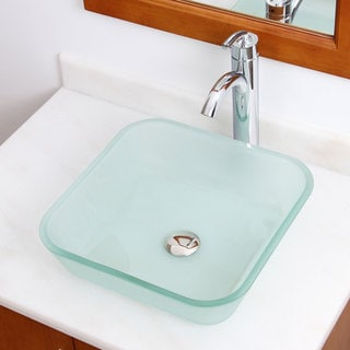 Frosted Square Tempered Glass Bathroom Vessel Sink With Faucet Combo