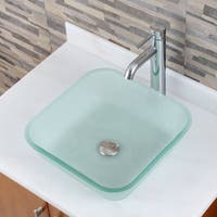 Frosted Square Tempered Glass Bathroom Vessel Sink with Faucet