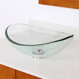 Unique Oval Transparent Tempered Glass Bathroom Vessel Sink