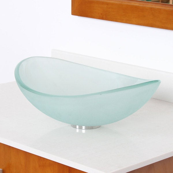 Unique Oval Frosted Tempered Glass Bathroom Vessel Sink