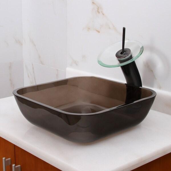 Shop Square Transparent Brown Tempered Glass Bathroom Vessel Sink Overstock 10085406