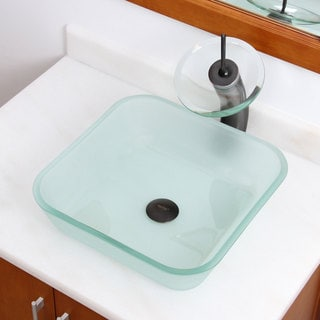 Frosted Square Tempered Glass Bathroom Vessel Sink