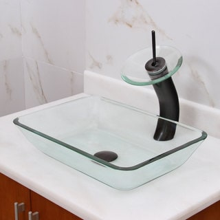 Rectangle Transparent Tempered Glass Bathroom Vessel Sink