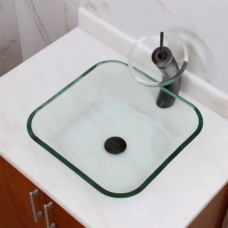 Transparent Square Tempered Glass Bathroom Vessel Sink