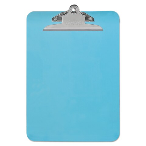 """Universal Blue Plastic Clipboard with 1"""" High Capacity Clip (Pack of 9)"""
