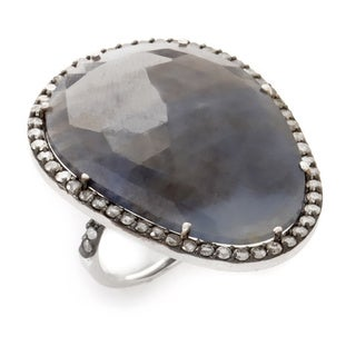 18k White Gold Labradorite 1 1/2ct TDW Diamond Ring (G-H, SI1-SI2) (Size 5.25)