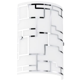 Eglo Bayman - 1 x 60W Wall Light w/Chrome Finish & White Decor Glass
