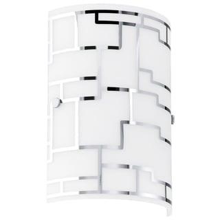 Eglo Bayman - 1 x 60W Wall Light w/Chrome Finish & White Decor Glass