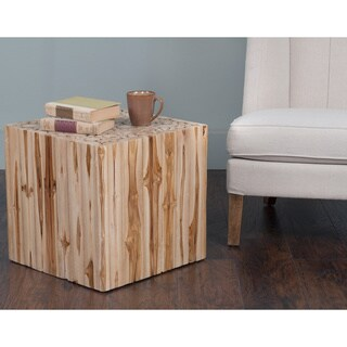 Decorative Glide Natural Teak Wood Square Accent Table