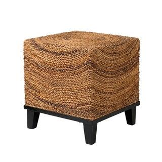 Elkton Natural Woven Woodgrain Square Accent Table