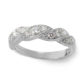 Platinum 3/8ct TDW Diamond Braided Estate Ring (G-H, VS1-VS2) (Size 7) - White