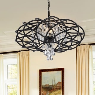Yanira Antique Black Ironwork Chandelier with Crystal Drops