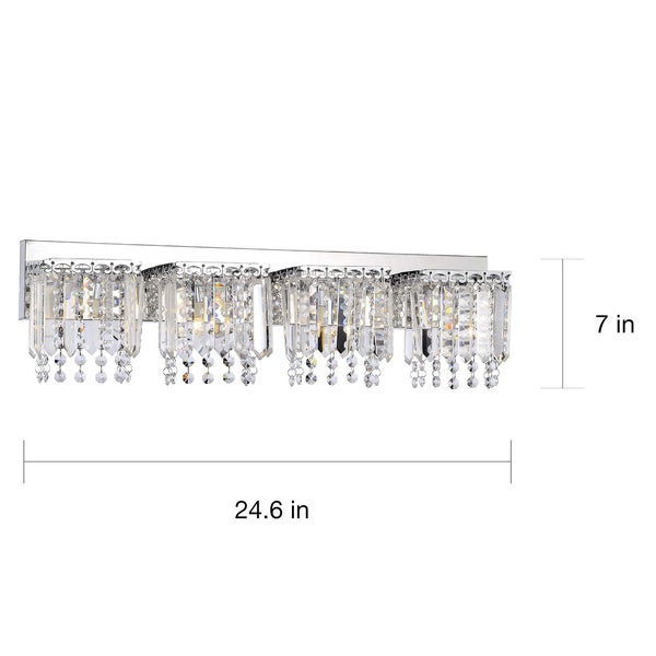 Shop Evelyn Light Chrome Finish Crystal Strand Wall Sconce On - 4 light bathroom sconce