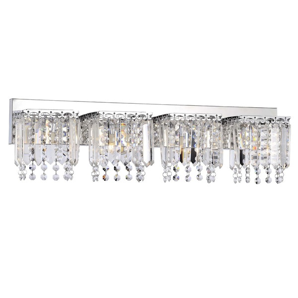 evelyn 4-light chrome finish crystal strand wall sconce - free