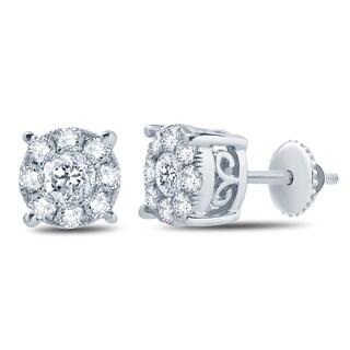 Divina 10k White Gold 1/2ct TDW Diamond Unity Earrings (H-I, I2-I3)