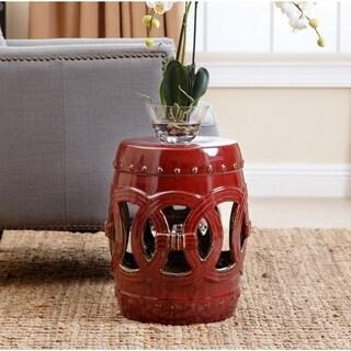 Abbyson Moroccan Red Ceramic Garden Stool