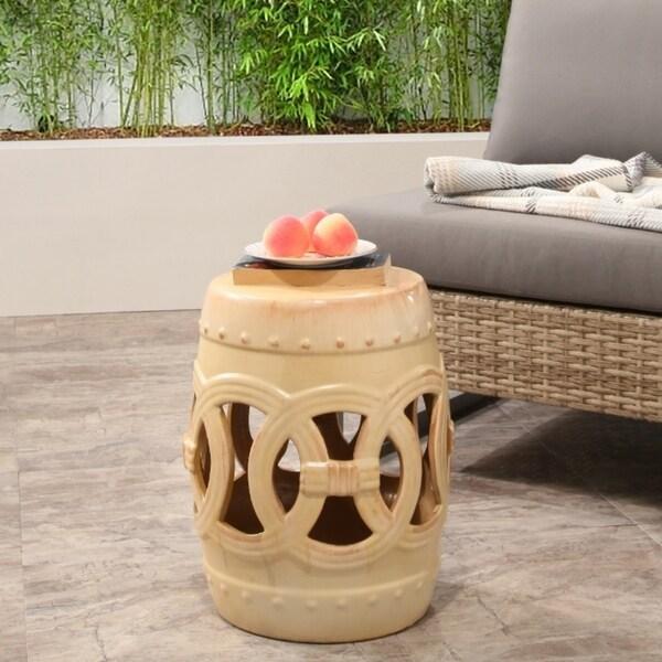 Shop Abbyson Moroccan Beige Garden Stool On Sale Free