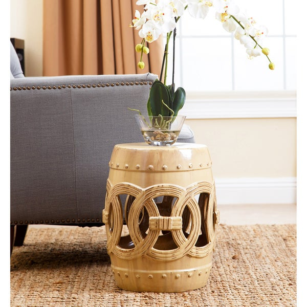Abbyson Moroccan Beige Ceramic Garden Stool