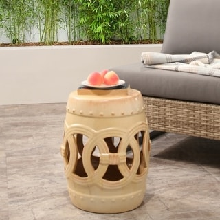 Abbyson Moroccan Antique Beige Ceramic Garden Stool