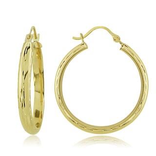 Mondevio 14k Gold 3mm Half-round Diamond-Cut Hoop Earrings