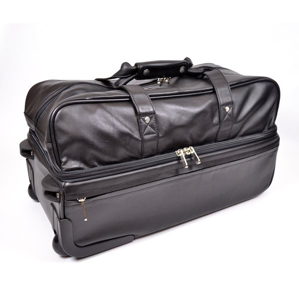 Shop royce leather rolling trolley duffel bag free shipping today 10085662 for Leather luggage wheeled duffel