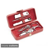 Royce Leather Framed Luxury Suede-lined Travel Manicure Set