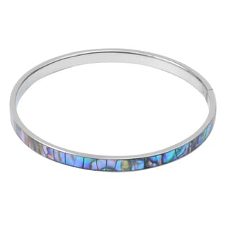 Journee Collection Stering Silver Abalone Shell Bangle