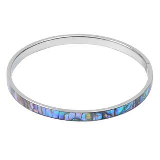 Silvertone Paua Shell Bangle Bracelet