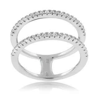 Journee Collection Sterling Silver Cubic Zirconia Accented Split Shank Ring