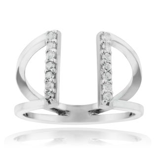 Journee Collection Sterling Silver Cubic Zirconia Accent Split Shank Ring