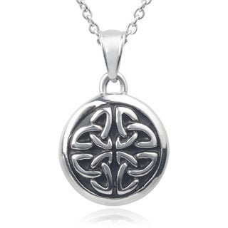 Journee Collection Stainless Steel Celtic Pendant Necklace