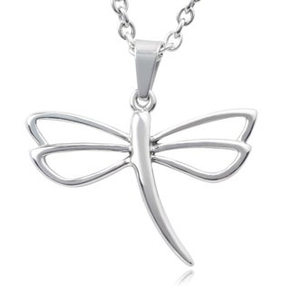 Journee Collection Stainless Steel Dragonfly Pendant