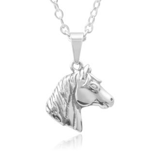 Journee Collection Stainless Steel Horse Head Pendant
